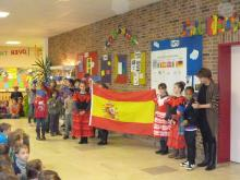 The national anthem and the spanish flag